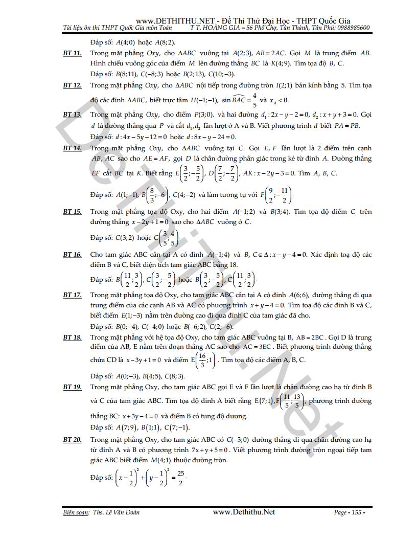 306 bài tập hình học phẳng Oxy có đáp số