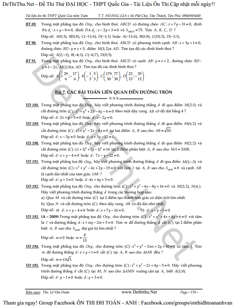 306 bài tập hình học phẳng Oxy có đáp số,Hình học phẳng oxy ôn thi đại học,THPT Quốc Gia